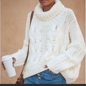Vici White Cable Knit Sweater